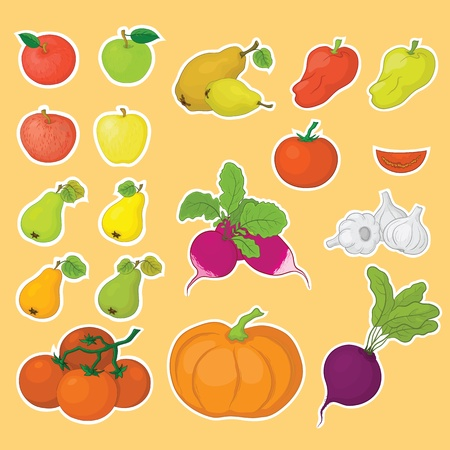 Vegetarian food, set vegetables and fruits, isolated  Vector Vector