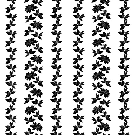 Seamless floral background, leaves and plants, black silhouettes on white background Vector