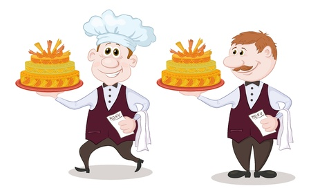 Cartoon character cook and waiter with sweet holiday cake, isolated on white background  Vector Vector