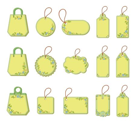 Set labels tags with floral pattern  Free for the test with the description and price of goods  Vector