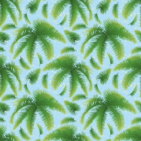 tropical evergreen forest: Seamless pattern, green branches with leaves of palm trees on a background of blue sky