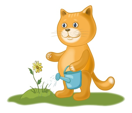 Cat gardener watering a flower from a watering can  Eps10, contains transparencies  Vector Vector
