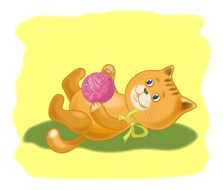 Cartoon, cat playing with a ball of wool yarn  Eps10, contains transparencies  Vector Stock Vector - 18542614