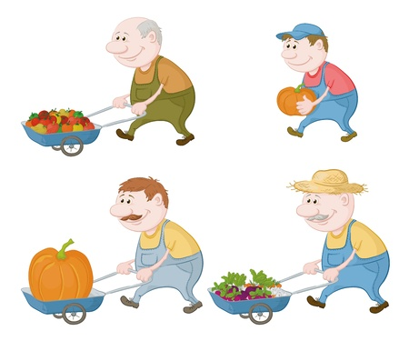 Set cartoon character farmers with a crop of vegetables and pumpkins