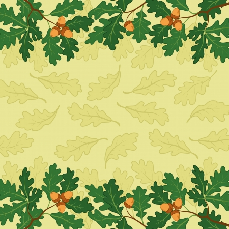 verdure: Background, pattern of oak branch with acorns and leaves  Vector Illustration