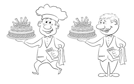 confectioner: Cartoon character cook and waiter with holiday cake, black contour on white background  Vector Illustration