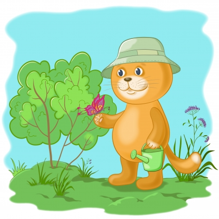 Cartoon, cat gardener with a butterfly in the garden  Vector
