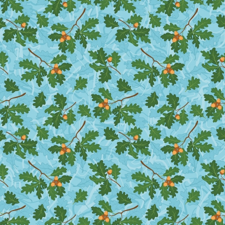 Seamless background, pattern of oak branches with green and blue leaves and acorns   Vector