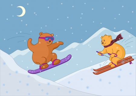 Teddy bears go for a drive on a skateboard and skis against mountains at night