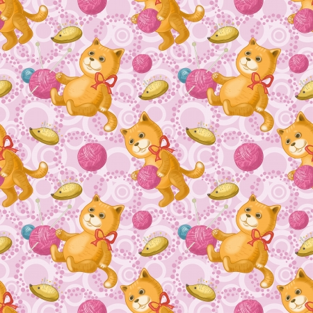 Seamless background, cats playing with balls of wool yarn  Eps10, contains transparencies  Vector Vector