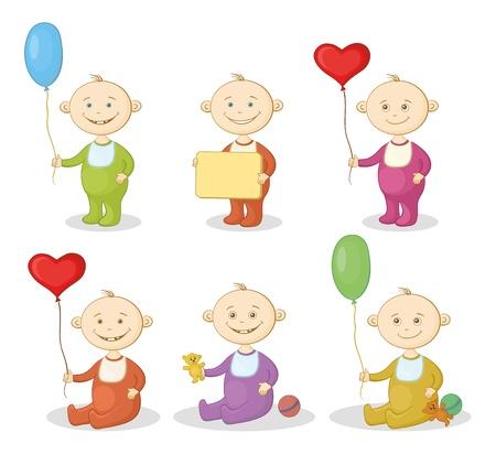 hermanos jugando: Los niños de dibujos animados con juguetes, globos y carteles Vectores