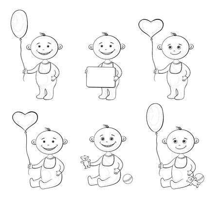 Set cartoon children with toys, balloons and signs, black contour on white background   Vector