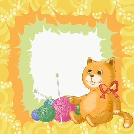 clew: Cartoon cat against the background of accessories for knitting  , contains transparencies   Illustration