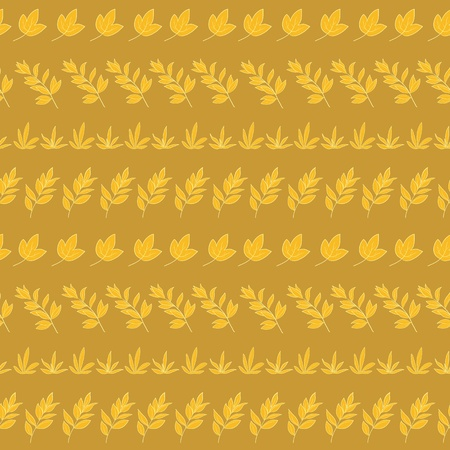 Seamless background, pattern of yellow leaves silhouettes on brown  Vector Vector