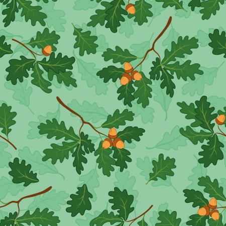Seamless background, pattern of oak branches with green leaves and acorns  Vector Vector