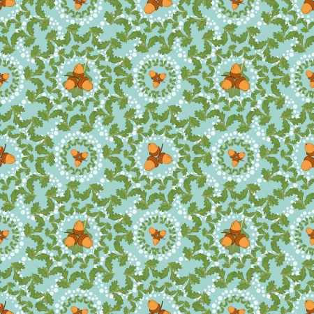 Seamless background, pattern of oak green leaves and acorns  Vector Vector
