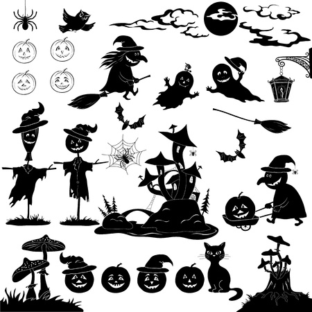 Halloween holiday cartoon, set of objects, animals and characters  pumpkins, witch, voodoo castle of grebes mushrooms  Vector