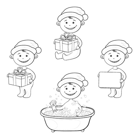 Set Christmas cartoon children in Santa hat  washing in the bathroom with a teddy bear, with the gift boxes and poster, black contour on white background Vector