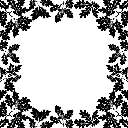 oak leaves: Background with a border of oak branches with leaves and acorns, black contours on white