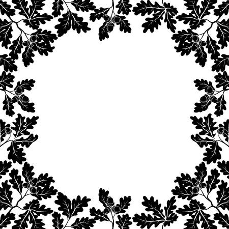 Fondo con una frontera de ramas de roble con hojas y bellotas, contornos negros sobre blanco Ilustración de vector