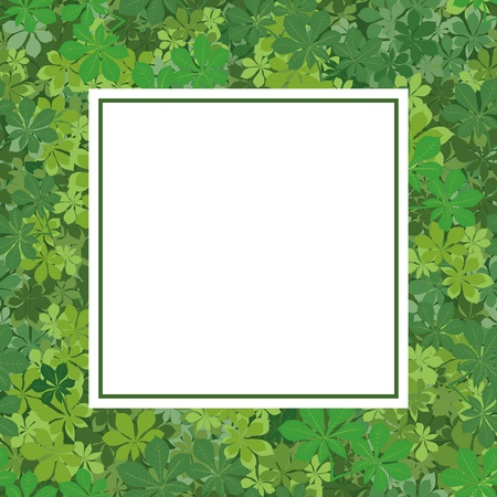 verdure: Background with a square frame of chestnut green leaves