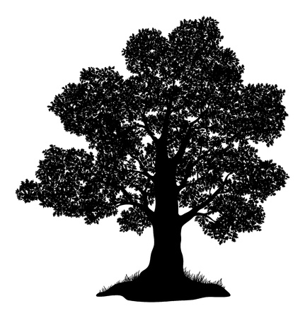 Oak tree with leaves and grass, black silhouette on white background