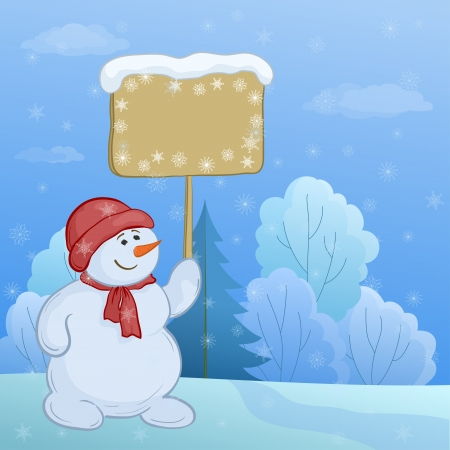 snowman wood: Christmas cartoon, snowmen boy with the poster in the winter forest.