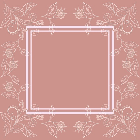 Abstract floral background with white contour flowers and frame. Vector