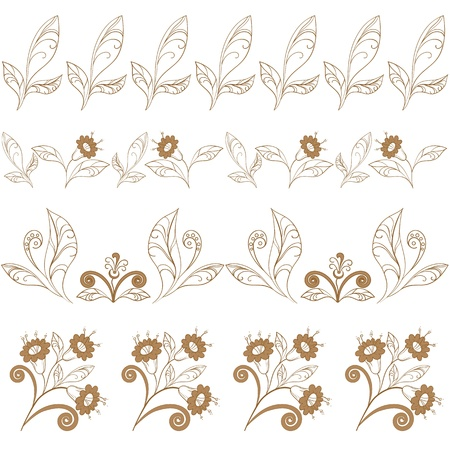 Abstract seamless floral pattern, brown contours on white background.