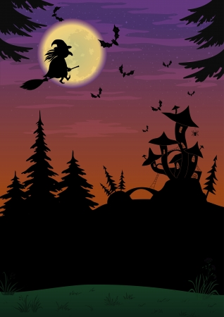 Holiday Halloween night landscape with witch and magic Castle 向量圖像