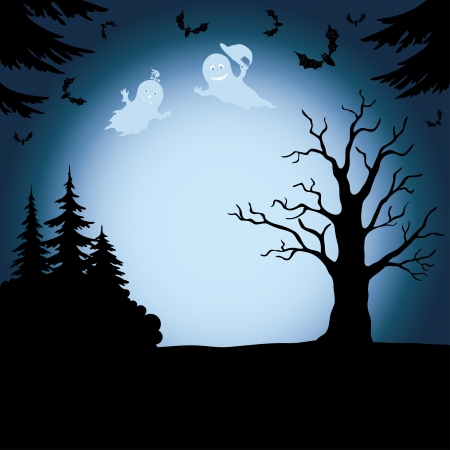 halloween cartoon: Halloween cartoon landscape with silhouettes of trees, ghosts and bats  Vector