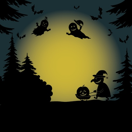 wizardry: Halloween cartoon landscape with silhouettes of trees, ghosts, a witch with a pumpkin on a cart and bats  Vector
