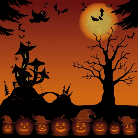 Holiday Halloween landscape with pumpkins Jack O Lantern, trees and magic Castle Vector