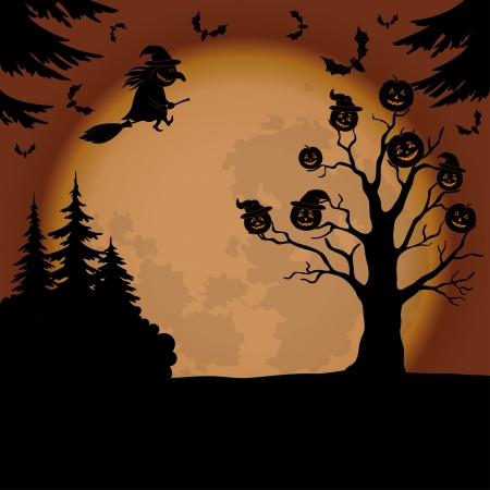 sky lantern: Holiday Halloween landscape with pumpkins Jack O Lantern, witch, trees and bats