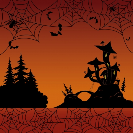 Holiday Halloween landscape with silhouetted magic Castle  Vector