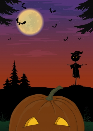 Holiday Halloween landscape with pumpkin Jack O Lantern, scarecrow and bats Vector