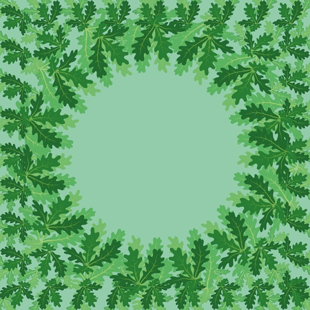 oak leaves: Background with a round framer of green oak leaves
