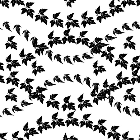 Seamless pattern, maple leaves, black silhouettes isolated on white background  Vector