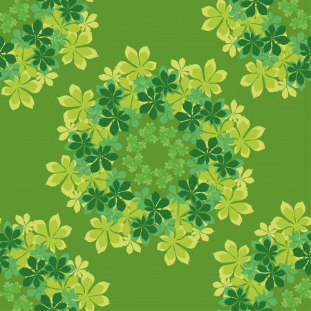verdure: Seamless background, pattern of chestnut green and yellow leaves Illustration