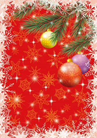 Christmas holiday design: spruce branches, balls, stars and snowflakes. Vector