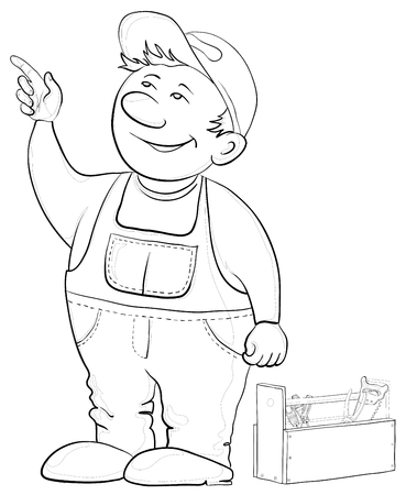 Man worker in a cap and a uniform with a toolbox, vector, contours Vector