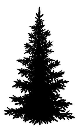 Tree, Christmas fir tree, black silhouette isolated on white background. Vector Çizim