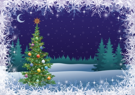 Winter woodland landscape with the Christmas tree with decorations. Vector