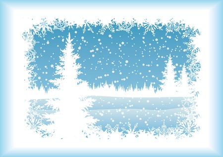 Winter woodland landscape with the Christmas tree and snowflakes, blue silhouettes on white background. Vector