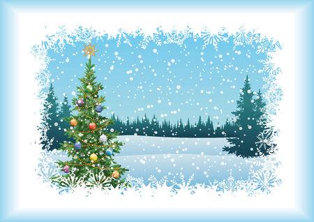 Winter-Waldlandschaft mit dem Weihnachtsbaum mit Dekorationen. Vektorgrafik