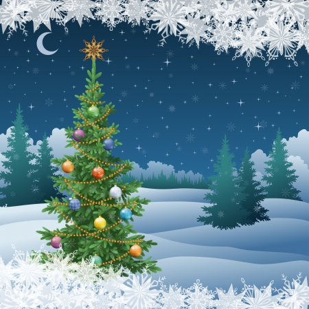 Winter woodland night landscape with the Christmas tree with decorations and snowflakes.