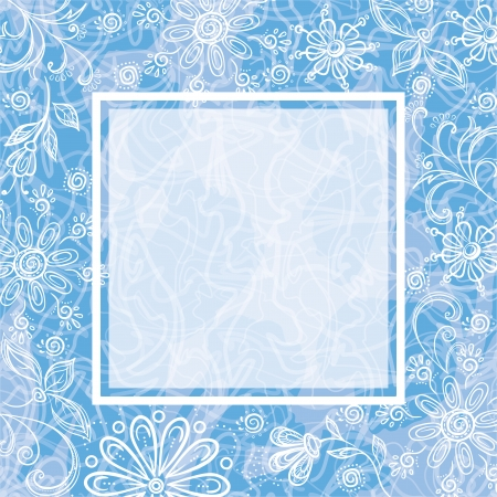 Blue - white floral background with the frame.  Vector