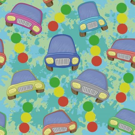 car ornament: Seamless background, cartoon cars, traffic lights and blots. Vector Illustration