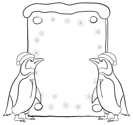 Antarctic emperor penguins in a Santa Claus hats with a Christmas poster for your text, black contour on white background. Vector Vector