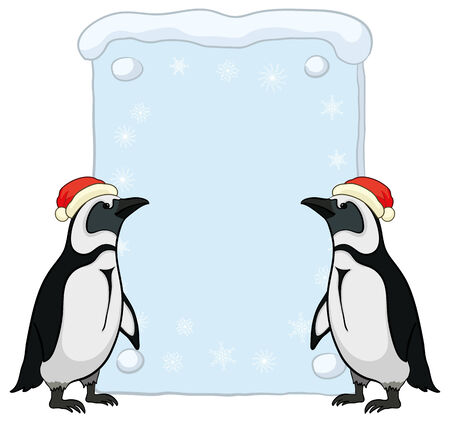 Antarctic emperor penguins in a red Santa Claus hats with a Christmas poster for your text. Vector Stock Vector - 23656162